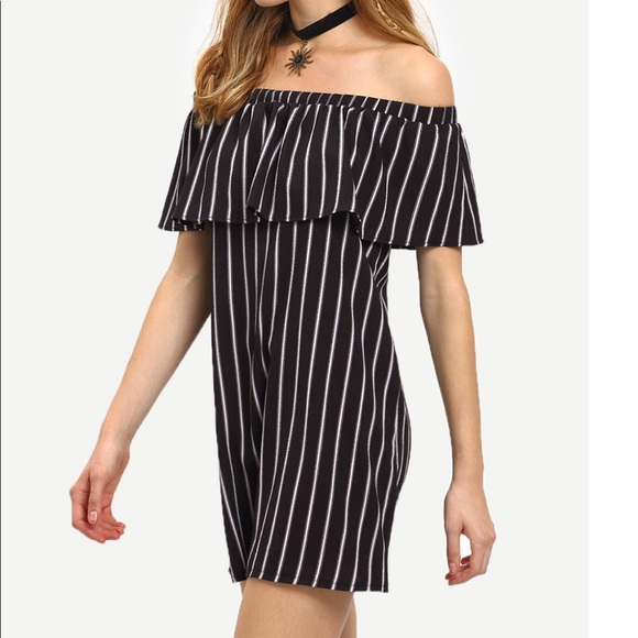 f18ada97a8 SHEIN Dresses | Off Shoulder Black And White Stripe Mini Dress ...